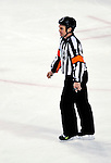 31 March 2010: NHL referee Kerry Fraser officiates at his last Canadiens game as the Montreal Canadiens play against the Carolina Hurricanes at the Bell Centre in Montreal, Quebec, Canada. The Hurricanes defeated the Canadiens 2-1 in their last meeting of the regular season. Mandatory Credit: Ed Wolfstein Photo