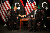 United States President Barack Obama, right, meets with Chairman Mustafa Abdel Jalil of the Libyan Transitional National Council (TNC), left, at the United Nations in New York, New York on Tuesday, September 20, 2011..Credit: Allan Tannenbaum / Pool via CNP