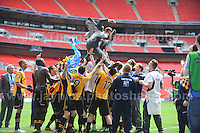 Newport County manager Justin Edinburgh joins his players in the celebrations during the Newport County v Wrexham Blue Sq. Bet Premier league playoff final at Wembley Stadium, London, England Sunday 5th May 2013. Credit for pictures to Jeff Thomas Photography - www.jaypics.photoshelter.com - 07837 386244 - Use of images are restricted without prior permission of the copyright owner Jeff Thomas Photography.