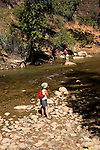 Hiker along Virgin River in Zion National Park, Utah, UT, Virgin River near the Narrows, Southwest America, American Southwest, US, United States, Image ut382-17673, Photo copyright: Lee Foster, www.fostertravel.com, lee@fostertravel.com, 510-549-2202