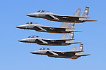 Four F-15 Eagles of the Oregon Air National Guard, 173rd Fighter Wing, fly by in formation during the during 2006 Reno National Championship Air Races. The 173rd Fighter Wing is based at Kingsley Field in Klamath Falls, Oregon. The 173rd Fighter Wing was activated on June 27, 1996. Photographed 09/06