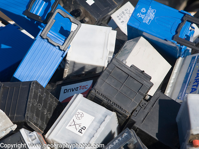 Car batteries in skip for recycling