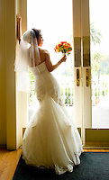 A bride poses at the Claremont Hotel in Berkeley, California.