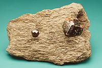 GARNET IN SCHIST<br /> Silicate Mineral Embedded in Metamorphic Rock<br /> Garnet or almandine in mica schist.
