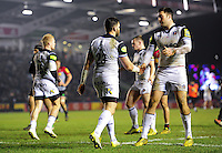 Jeff Williams of Bath Rugby celebrates his try with team-mate Matt Banahan. Aviva Premiership match, between Harlequins and Bath Rugby on March 11, 2016 at the Twickenham Stoop in London, England. Photo by: Patrick Khachfe / Onside Images