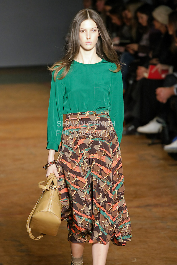 Ruby Aldridge walks runway in an outfit from the Marc by Marc Jacobs Fall/Winter 2011 collection, during New York Fashion Week, Fall 2011.