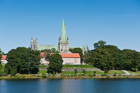 Nidaros cathedral and Nidelva river, Trondheim, Norway