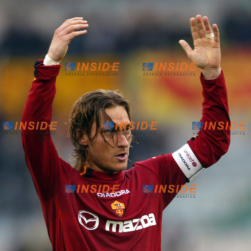 Roma 22/2/2004 <br /> Roma Siena 6-0 <br /> Francesco Totti (Roma) celebrate his goal (6-0 for Roma)<br /> Photo Andrea Staccioli Insidefoto