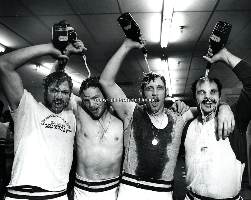 Oakland A's celebrate after winning the World Series<br />