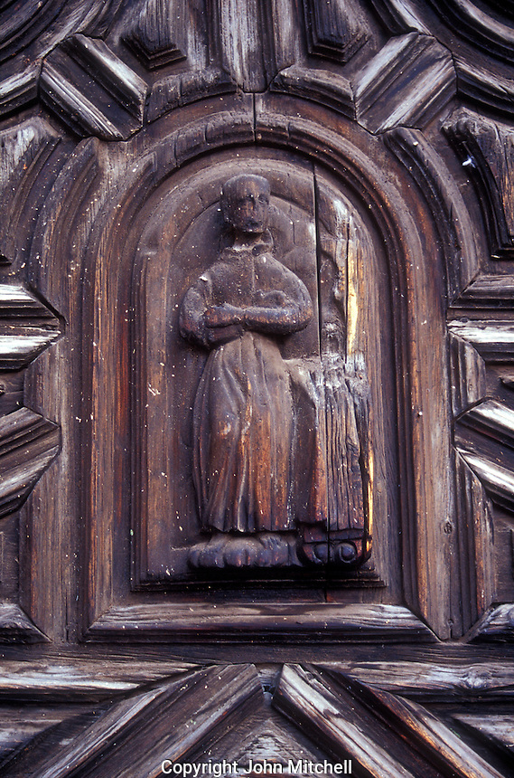 Carved door of the Templo  de la Concepcion in San Miguel de Allende, Mexico