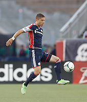 New England Revolution defender Chris Tierney (8) traps the ball. In a Major League Soccer (MLS) match, the New England Revolution (blue) tied D.C. United (white), 0-0, at Gillette Stadium on June 8, 2013.