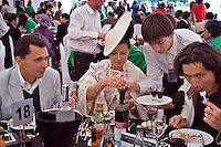 Gorky 2, Moscow Region, Russia, 01/07/2005..Guests enjoy the hospitality in the VIP suite at the Russian Polo Cup 2006, organised by the Russian Federation of Polo Players.