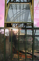 New Caledonia Glasshouse (formerly The Mexican Hothouse), 1830s, Charles Rohault de Fleury, Jardin des Plantes, Museum National d'Histoire Naturelle, Paris, France. Low angle view through the glass structure of the renovation works of the glasshouse in the middle of the windows reflecting the late afternoon light. In the distance the Tropical Rainforest Glasshouse may be seen. The New Caledonia Glasshouse, or Hothouse, was the first French glass and iron building.