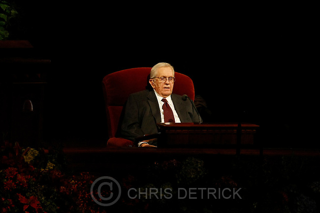 Photo by Chris Detrick  |  The Salt Lake Tribune .Boyd K. Packer, President Quorum of the Twelve Apostles, speaks during the afternoon session of the 179th Semiannual General Conference of The Church of Jesus Christ of Latter-day Saints Saturday October 3, 2009.