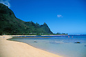 Haena Beach and Mount Makana (also known as Bali Hai); Kauai, Hawaii.