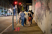 Fans walk from venue to venue during the Hopscotch Music Festival in Raleigh, N.C., Thurs., Sept. 9, 2010.