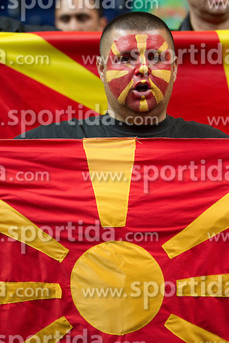 Fans of Macedonia during basketball game between National basketball teams of  Georgia and Former Yugoslav Republic of Macedonia at FIBA Europe Eurobasket Lithuania 2011, on September 8, 2011, in Siemens Arena,  Vilnius, Lithuania. (Photo by Vid Ponikvar / Sportida)