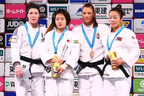(L-R) Helene Receveauv (RUS), Tsukasa Yoshida (JPN), Hedvig Karakas (HUN), Sumiya Dorjsuren (MGL),<br /> DECEMBER 4, 2015 - Judo : <br />  IJF Grand Slam Tokyo 2015 International Judo Tournament<br /> Women's -57kg Award Ceremony<br /> at Tokyo Metropolitan Gymnasium, Tokyo, Japan. <br /> (Photo by Shingo Ito/AFLO SPORT)