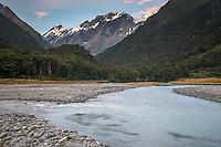 Matukituki River in Matukituki Valley at dusk, Mt. Aspiring National Park, Otago, South Island, New Zealand
