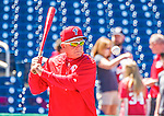 23 May 2015: Philadelphia Phillies Bench Coach Larry Bowa taps out infield grounders prior to a game against the Washington Nationals at Nationals Park in Washington, DC. The Phillies defeated the Nationals 8-1 in the second game of their 3-game weekend series. Mandatory Credit: Ed Wolfstein Photo *** RAW (NEF) Image File Available ***
