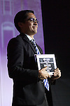 Miguel Gomez recieves the International Student Leadership Award at Ohio University's 33rd Annual Leadership Awards Gala in Baker Ballroom on April 7, 2016. ©Ohio University/ Photo by Kaitlin Owens