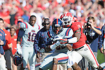 Ole Miss tight end Ferbia Allen (83) vs. Georgia linebacker Alec Ogletree (9) at Sanford Stadium in Athens, Ga. on Saturday, November 3, 2012.