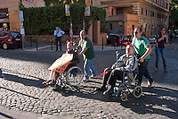 Roma 11 Ottobre 2011.Anziani indignati  in corteo al quartiere San Lorenzo contro la chiusura del Centro Anziani Fragili per mancanza fondi che sono stati tagliati dalla Regione Lazio e dal Comune di Roma.Il centro si occupa di anziani con handicap  e in solitudine