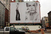 A Calvin Klein billboard in Soho in NYC.  Klein's advertisements use sex and provocative images to test society's cultural and moral boundries.  (© Richard B. Levine)