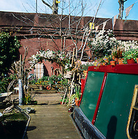 A canal boat in London owned by fashion stylist and artist Emma Freemantle. An arch of twigs and flowers welcomes visitors