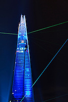 Opening of the Shard on the 5 June 2012 officially the highest building in Europe at 310m (1016ft). A light and laser show was staged for the unveiling of the building.<br />