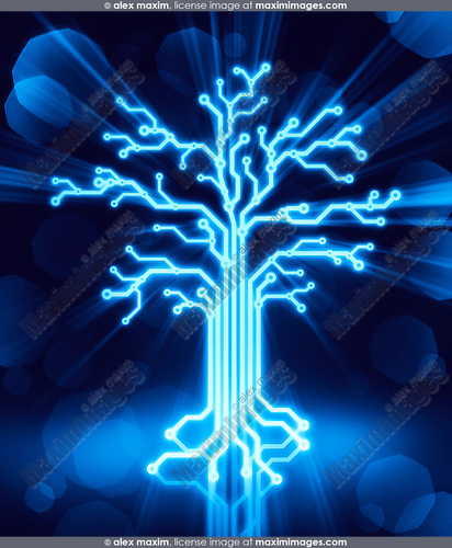 Glowing digital tree made of circuits, conceptual illustration blue on black background