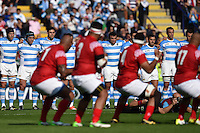Argentina players watch as Tonga perform their Sipi Tau prior to the match. Rugby World Cup Pool C match between Argentina and Tonga on October 4, 2015 at Leicester City Stadium in Leicester, England. Photo by: Patrick Khachfe / Onside Images