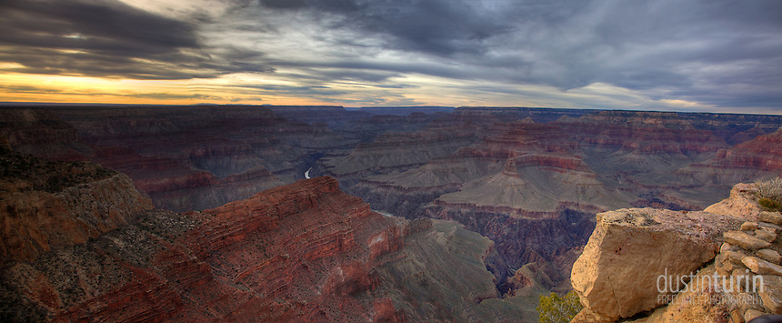 Panoramic HDR image of the Grand Canyon, shot from the South Rim at sunset. Arizona, USA.