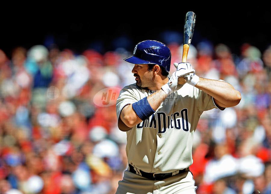Apr. 5, 2010; Phoenix, AZ, USA; San Diego Padres first baseman Adrian Gonzalez bats in the second inning against the Arizona Diamondbacks during opening day at Chase Field. Mandatory Credit: Mark J. Rebilas-