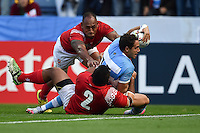 Joaquin Tuculet of Argentina reaches for the try-line. Rugby World Cup Pool C match between Argentina and Tonga on October 4, 2015 at Leicester City Stadium in Leicester, England. Photo by: Patrick Khachfe / Onside Images