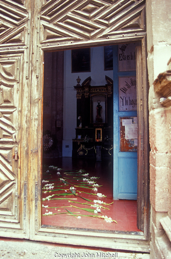Gladioli strewn entrance to the Templo  de la Concepcion in San Miguel de Allende, Mexico