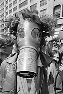Manhattan, New York City, New York -  April 22, 1970 <br /> We have one earth and we need to take care of it. A demonstrator wears a gas mask in a sign of demonstration against increased air pollution.  We will have to wear one in the future if we do not take care of our environment.<br /> Manhattan, New York City, NY. 22 avril 1970<br /> Il faut r&eacute;fl&eacute;chir maintenant &agrave; la qualit&eacute; de l&rsquo;air. Va t on devoir un jour porter un masque ? Tout symbole fort est bon pour secouer notre torpeur et notre indiff&eacute;rence &agrave; ce sujet.