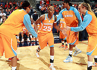 CHARLOTTESVILLE, VA- NOVEMBER 20: Glory Johnson #25 of the Tennessee Lady Volunteers runs through the huddle at the start of the game on November 20, 2011 against the Virginia Cavaliers at the John Paul Jones Arena in Charlottesville, Virginia. Virginia defeated Tennessee in overtime 69-64. (Photo by Andrew Shurtleff/Getty Images) *** Local Caption *** Glory Johnson