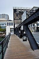 The 4th Street Bridge crosses Mission Creek near AT&T Park, San Francisco.