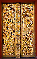 This temple door displays fine craftsmanship with beautiful gilded figures. (Photo by Matt Considine - Images of Asia Collection)