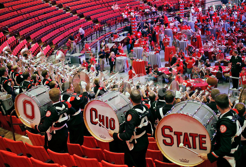 The Ohio State University marching band hat performs during the Buckeye Bash pep rally hosted by the OSU Alumni Association at the Lloyd Noble Center before Saturday's NCCAA Division I football game between the Ohio State Buckeyes and the Oklahoma Sooners in Norman, Ok., on September 17, 2016. The family lives in Akron, Oh. (Barbara J. Perenic/The Columbus Dispatch)