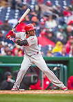 28 April 2016: Philadelphia Phillies third baseman Maikel Franco in action against the Washington Nationals at Nationals Park in Washington, DC. The Phillies shut out the Nationals 3-0 to sweep their mid-week, 3-game series. Mandatory Credit: Ed Wolfstein Photo *** RAW (NEF) Image File Available ***