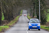 Car on a country road, Staffordshire, United Kingdom