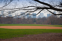Empty baseball field on the big lawn of Central park in spring