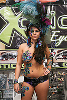 Xotic Eyes model, poses at the Makeup Show NYC, in the Metropolitan Pavilion, May 15 2011.