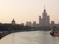 View of the Red Gates Building (Ministry of Heavy Industry) with Mokva river in forground, Moscow, Russia