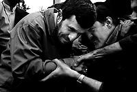 Teheran, Iran, March 30, 2007.Cheered by the worshippers'crowd, Iranian President Mahmoud Ahmadinejad leaves the Friday prayer site at teheran University.