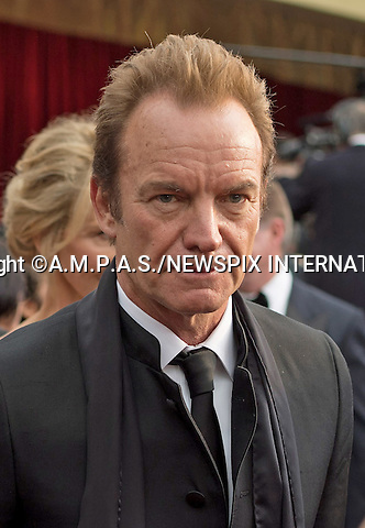 26.02.2017; Hollywood, USA: STING<br /> attends The 89th Annual Academy Awards at the Dolby&reg; Theatre in Hollywood.<br /> Mandatory Photo Credit: &copy;AMPAS/NEWSPIX INTERNATIONAL<br /> <br /> IMMEDIATE CONFIRMATION OF USAGE REQUIRED:<br /> Newspix International, 31 Chinnery Hill, Bishop's Stortford, ENGLAND CM23 3PS<br /> Tel:+441279 324672  ; Fax: +441279656877<br /> Mobile:  07775681153<br /> e-mail: info@newspixinternational.co.uk<br /> Usage Implies Acceptance of Our Terms &amp; Conditions<br /> Please refer to usage terms. All Fees Payable To Newspix International