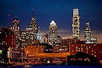 Center city Philadelphia and Deleware river at night. Philadelphia, Pennsylvanis, USA