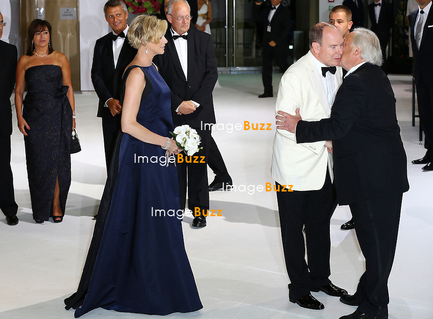 NO TABLOID Princess Charlene of Monaco and Prince Albert II of Monaco attend 66th Monaco Red Cross Ball Gala at Sporting Monte-Carlo on August 1, 2014 in Monte-Carlo, Monaco.